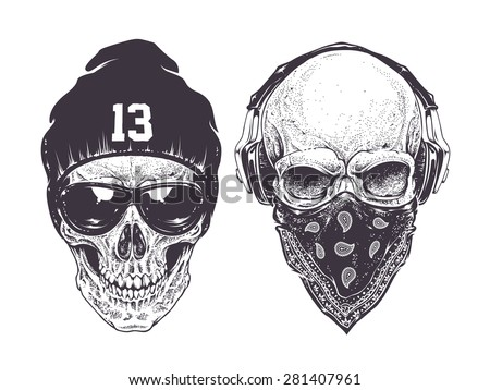 two dotwork skulls with modern