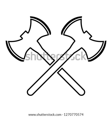 Two double-faced viking axes icon black color