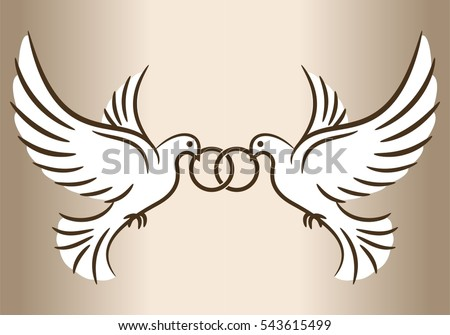 two doves stylized pigeons and