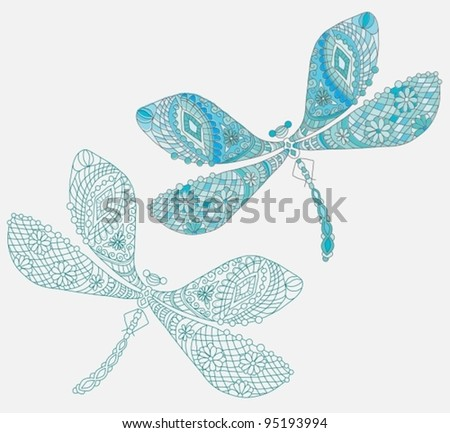 Two dragonfly with unique pattern and color,vector illustration