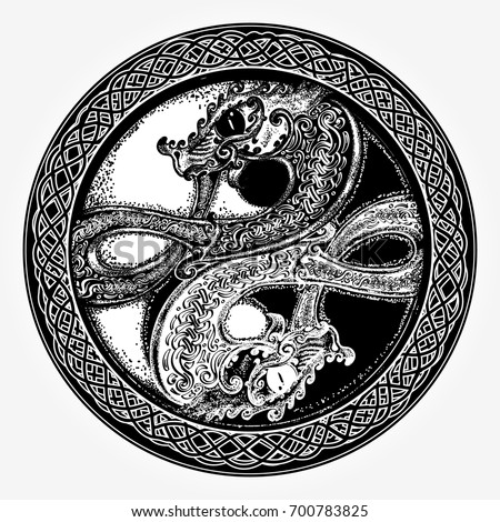 Two dragons tattoo and t-shirt design. Two Dragons in the Celtic style, tattoo. Black and white dragon in Yin yang t-shirt design. Meditation, philosophy, harmony symbol
