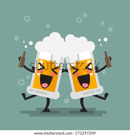 two drunk beer glasses
