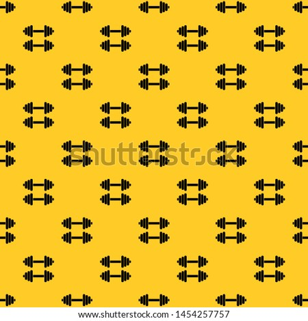 Two dumbbells pattern seamless vector repeat geometric yellow for any design
