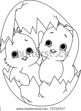 Two Easter chickens hatched from one egg. Coloring page