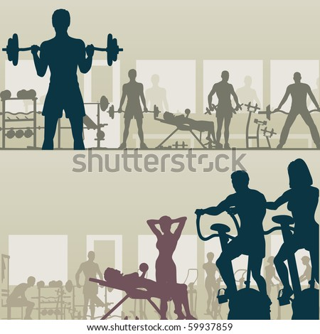 Two editable vector silhouettes of people exercising in a gym