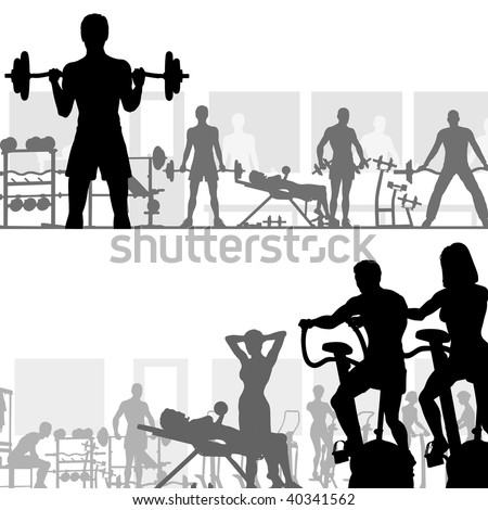 Two editable vector silhouettes of people exercising in the gym