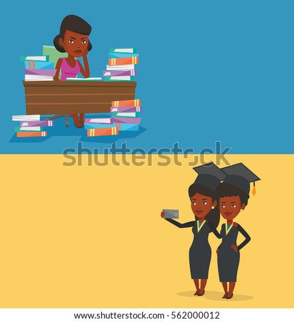 Two educational banners with space for text. Vector flat design. Horizontal layout. Angry student studying with textbooks. Annoyed student studying hard before exam. Student studying in the library.