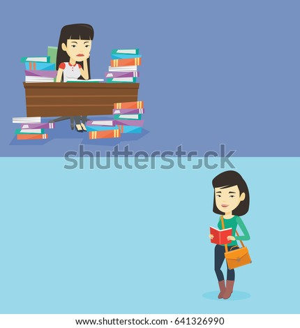 Two educational banners with space for text. Vector flat design. Horizontal layout. Asian annoyed student studying before exam. Student studying with textbooks. Bored student studying in the library.