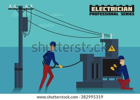 Two electricians at work in working environment. EPS-10 high quality flat style vector