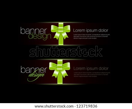 Two elegant black vector banners with silky glossy green ribbons and bows