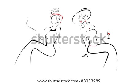 Two elegant ladies are talking (vector)