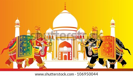 two elephants and taj mahal