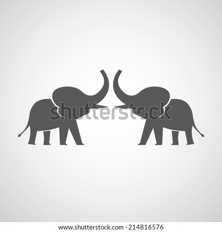 two elephants silhouettes on