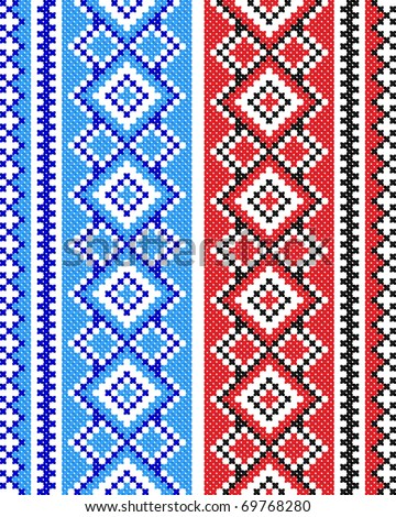 two embroidered good like handmade cross-stitch ethnic Ukraine pattern