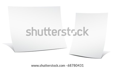 Two empty sheets of paper on the white background