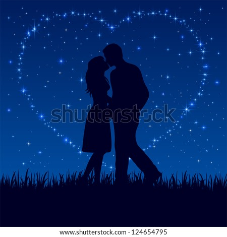 Two enamored on the night sky with shining stars, illustration.