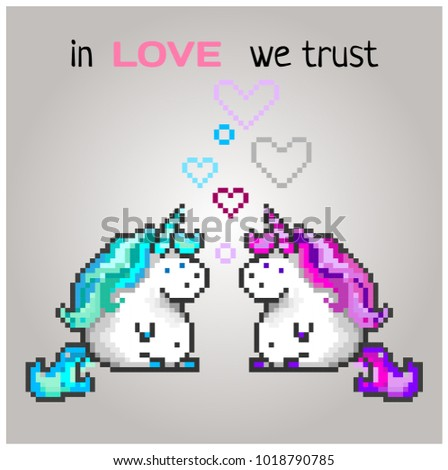 two enamored unicorns in pixel