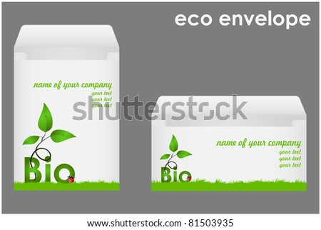 Two envelopes with green shoots and ladybug executed in corporate style