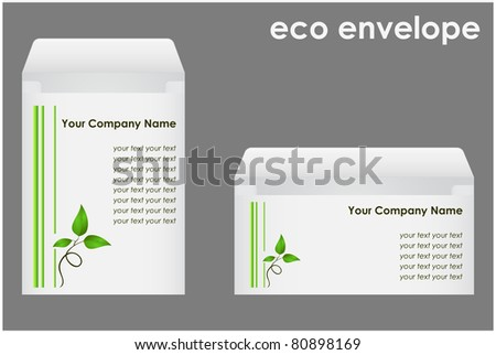 Two envelopes with green shoots executed in corporate style