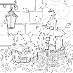Two evil pumpkin with Witch hats and on a stump, falling autumn leaves, grass, a brick wall,  lantern. Halloween creepy hand drawn illustration on white isolated background. For coloring book pages.