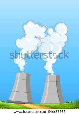 two factory chimneys with white