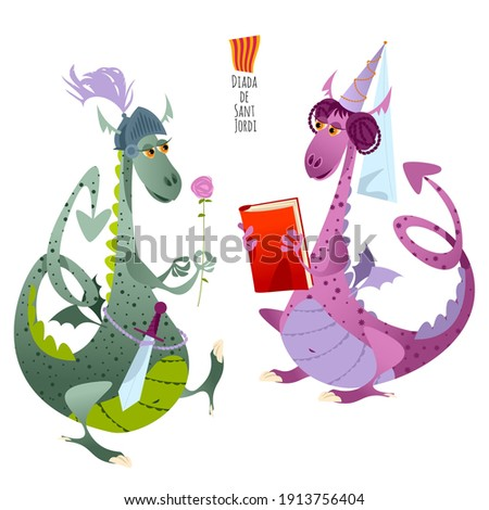 Two fairy-tale dragons. Diada de Sant Jordi (the Saint George's Day). Traditional festival in Catalonia, Spain. Dia del llibre (The Day of the Book). Vector illustration.  Photo stock ©