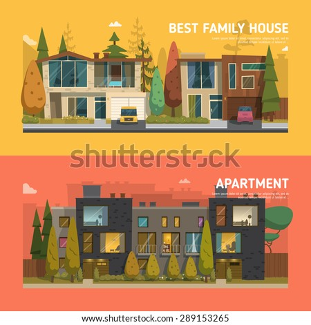 Two family house and apartment banners on the background with beautiful buttons