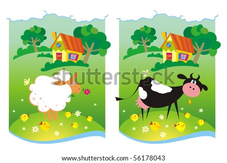 Two farm backgrounds. Vector illustration