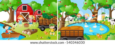 two farm scenes with kids and