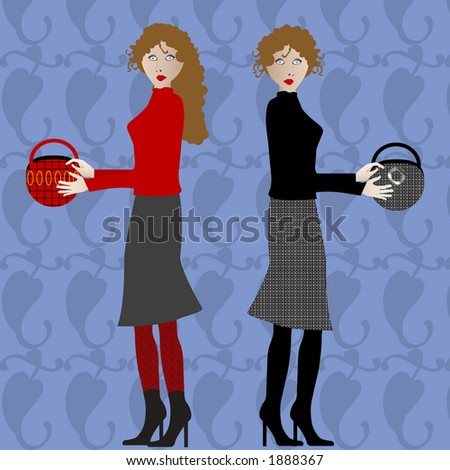 two fashion gals with purses in hands