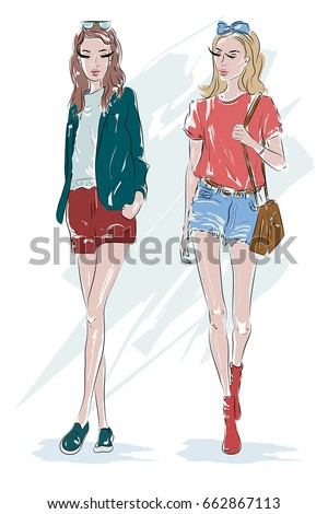 two fashion girl  blonde and