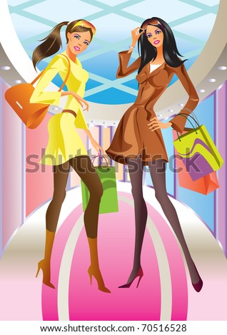 two fashion shopping girl with