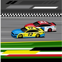 two fast cars overtaking each other in nascar competition approaching the finish line in a straight track
