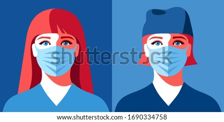 Two female avatars. Woman as doctor or nurse. Female characters in medical uniform and face masks. Coronavirus epidemic. Vector illustration