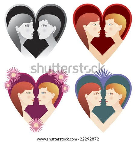 Two female friends or partners in different heart shapes for Valentines Day or general love theme. Vector will print at any size at full resolution. Vector will print at any size at full resolution.