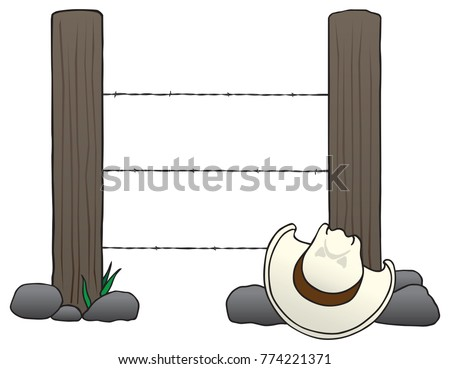 two fence posts with barbed