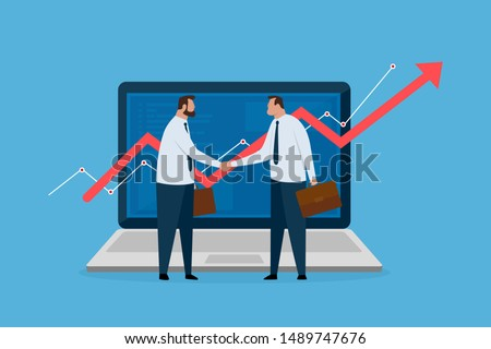 Two financial broker made deal. Laptop with growth charts. Stock market exchange concept. Vector illustration.