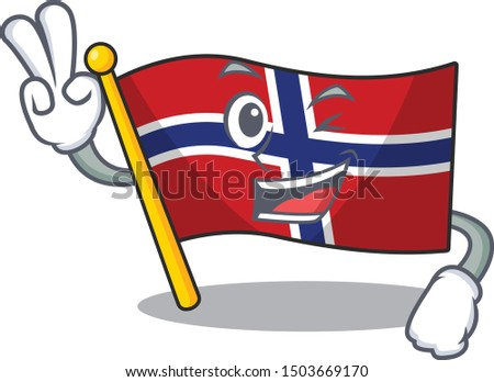 two finger flag norway isolated