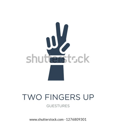 two fingers up icon vector on white background, two fingers up trendy filled icons from Guestures collection, two fingers up vector illustration