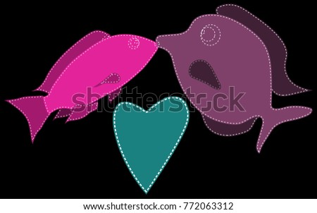 two fish  purple and pink