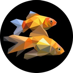 Two fishes in the aquarium polygon style. Fashion illustration of the trend in style � on a black background. Marine goldfish