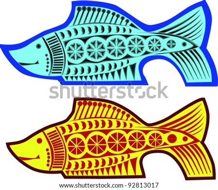 two fishes pattern over white