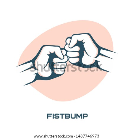 Two fists bumping together vector illustration, two hands with fists.