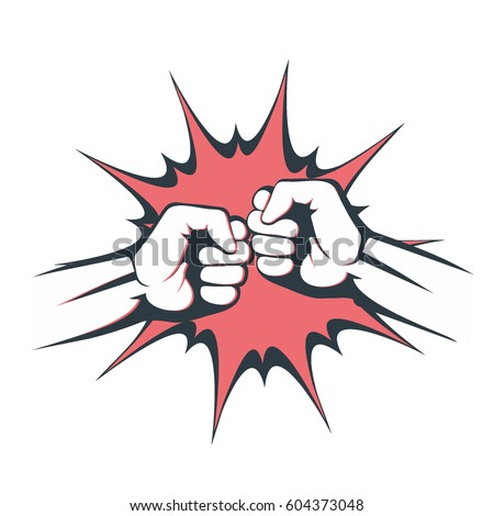 Two fists bumping together vector illustration, two hands with fists