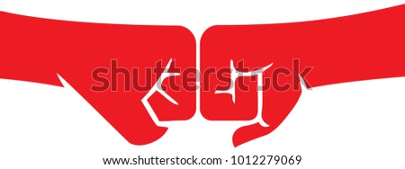 two fists punching each other vector illustration Foto stock ©