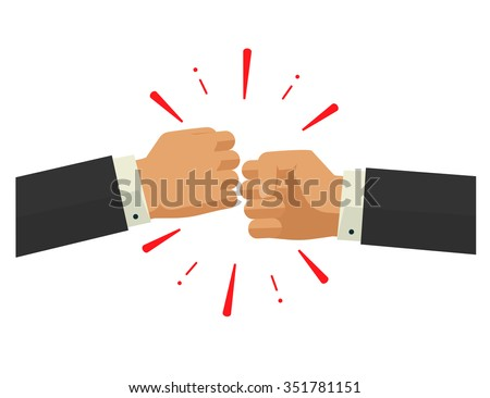 two fists together vector