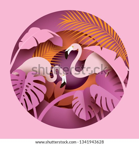 two flamingos in tropical