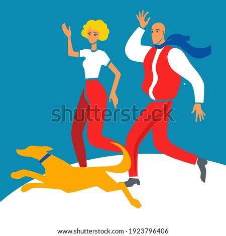 two flat style men walk a dog