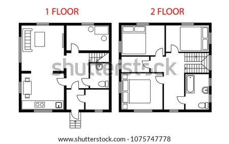 Two floors plan architectural vector illustration with furniture. Black and white project house, cottage floor plan, blueprint.