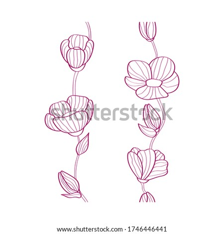 two floral seamless elements